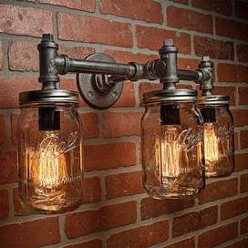 LAMPARA DE PARED TRIPLE BOMBILLO EDISON