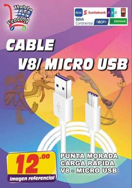 CABLE MICRO USB V8 PARA CELULAR PUNTA MORADA CARGA RAPIDA