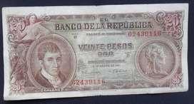 COLOMBIA BILLETE 20 PESOS 1961