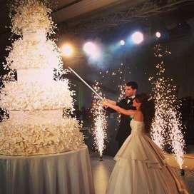 servicio de ventury y volcanes de polvora fria para bodas y eventos en cartagena
