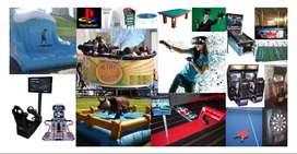 ALQUILER JUEGOS PARA EVENTOS, TORO MECANICO, REALIDAD VIRTUAL, MINI SAMBA, TABLA DE SURF MECANICA, VIDEO JUEGOS, DAYTONA