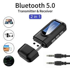 Receptor de Audio con Bluetooth transmisor fm  música estéreo 2 en 1, adaptadores inalámbricos para coche, TV, MP3, PC