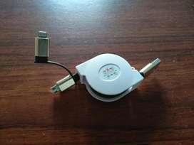 Cable Retractil Dual Celulares Mas Iphon