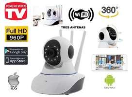 Cámara seguridad wifi full HD robotica 360 tres antenas, Ip audio visión nocturna