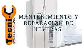 Mantenimiento y reparacion de neveras aires frigoríficos.  totalmente garantizado