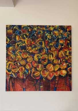 Cuadro en óleo. Pintura vibrantes y formas abstractas
