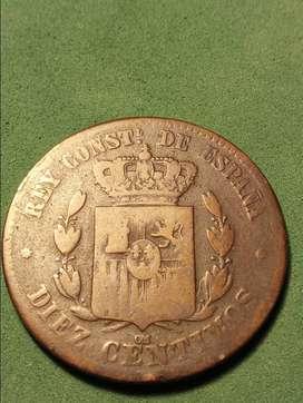 #Moneda España 5 y10 centavos 1870 y 1879