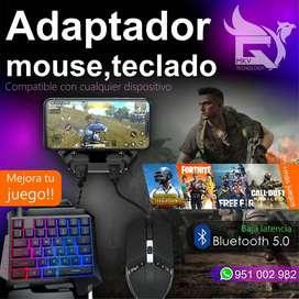 Adapatador Teclado y Mouse Smartphone para Juegos Bluetooth 5.0
