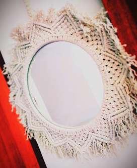 Espejos decorativo tejido en macramé