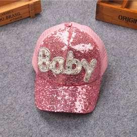Gorra beisbol niña color rosado glitter