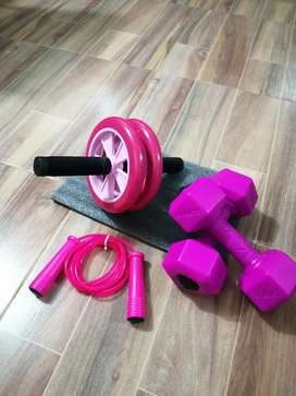 Súper kit rueda abdominal siliconada + lazo  + mancuernas de 2 lb