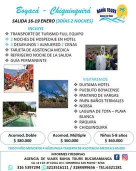 TOUR BOYACA CHIQUINQUIRA SALIDA ENERO 16 DEL 2020