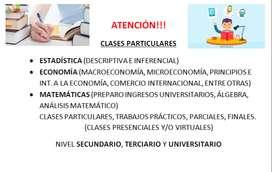 PROFESOR DE ESTADÍSTICA Y ECONOMÍA, CLASES PARTICULARES Y TRABAJOS