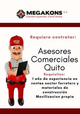 Megakons SA. requiere contratar asesores comerciales para la ciudad de Quito