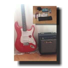 guitarra con sus bafles,herramientas y asesorios