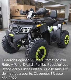Cuadron Automatico Pegasso 200cc con Panel Digital y Luces Led , incluye Respaldar y Casco