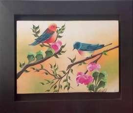 Cuadro al Óleo de hermosas Aves