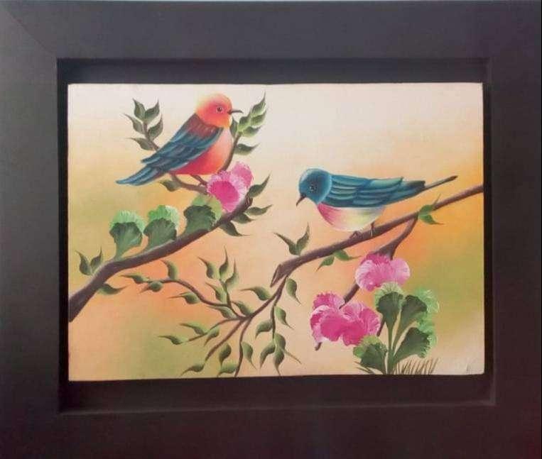Cuadro al Óleo de hermosas Aves 0