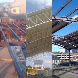 estructuras metalicas, cubiertas, sistemas de energía solar, techos verdes, puertas, ventanas, divisiones de baño