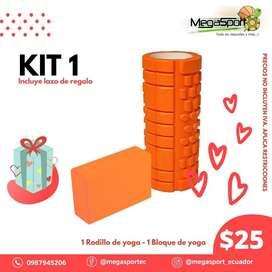 PROMO KIT 1 Bloque de yoga + Rodillo