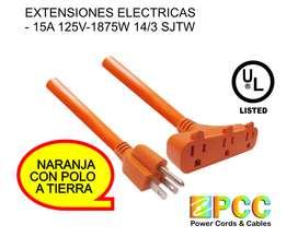 Extensión Eléctrica 7.62 Mts 15a 125v 1875w 14/3 Sjtw