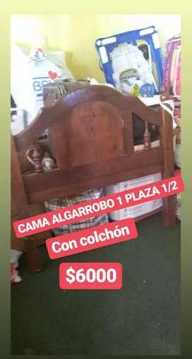 Cama algarrobo 1 Plaza 1/2  con colchón