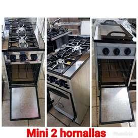 Cocina mini 2 hornallas de acero