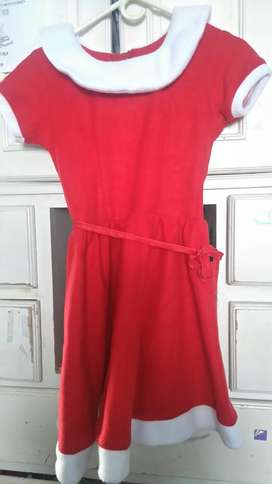 Vestido de Mamá Noel talla 8 a 10 para Niña