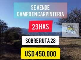 SE VENDE CAMPO DE 23 HAS  EN CARPINTERIA-SAN LUIS  IDEAL INVERSIÓN