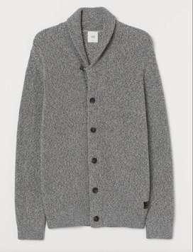 Cardigan con cuello H&M talla XS color gris jaspeado