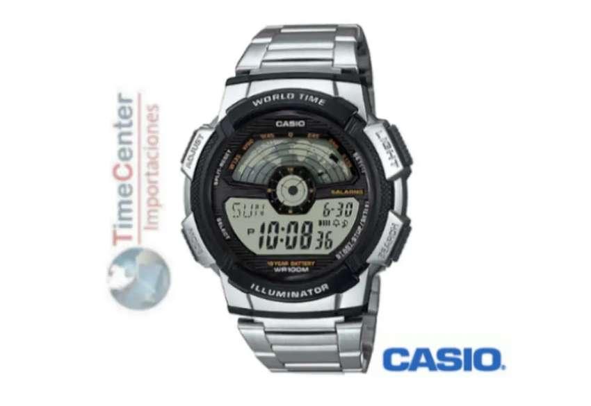 Reloj Casio Digital, Hora Mundial, Para Hombre Ae-1100wd-1 0