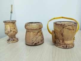 MATE (pajilla, bombilla, porta yerba mate y porta azucar)