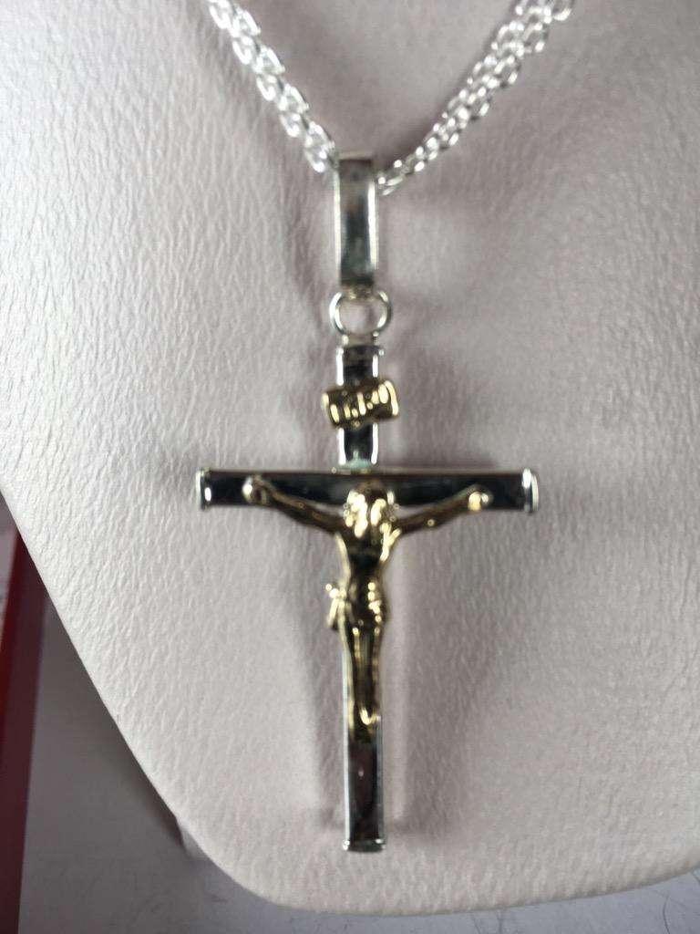 Cristo Oro Plata Cadena Chinesca 0