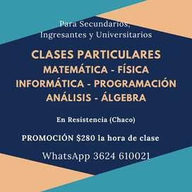 Clases de MATEMATICA, FISICA, QUIMICA