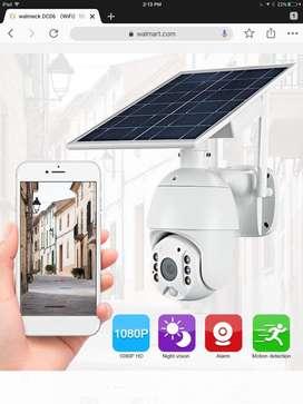 Ptz  camara wifi full hd 2 vias audio baterias panel solar sd tarjeta nube almacena exterior o interior