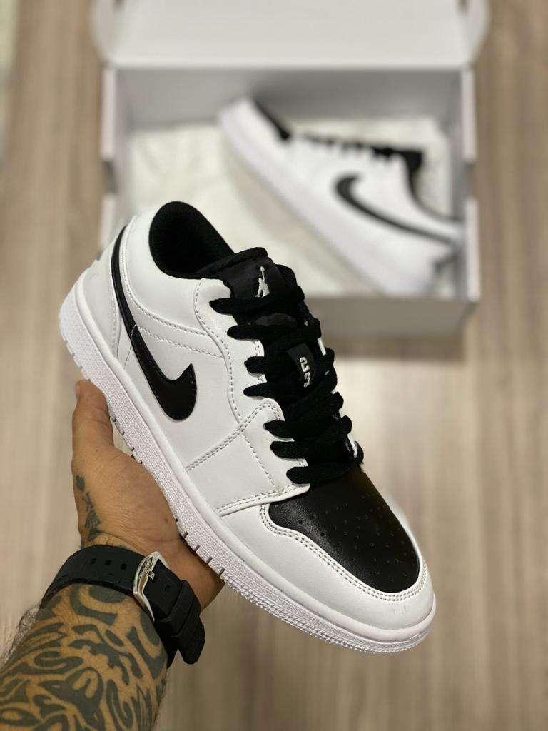 Tenis Nike Jordan 1 Corte Bajo Cuero Blanco Negro Envio Gratis 0