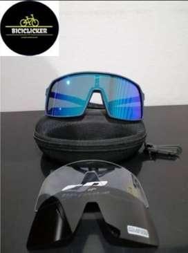 Gafa Optimus Marco Azul o Negro, Lente Azul o Rojo para montar bicicleta, diferentes motivos y diseños, protección UV