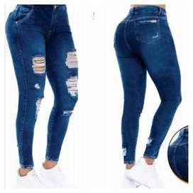 Jeans dama tiro alto
