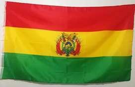 Bandera de Bolivia 1.5m x 1m Escudo 2 caras Lino Sermat Nueva