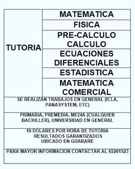 TUTORIAS DE MATEMATICA EN GENERAL