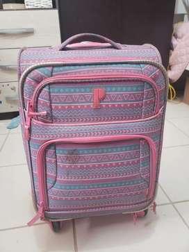 Mochila maletin rosada con ruedas