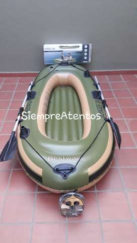 Bote Inflable Voyager 300 + 2 Personas Remo Aluminio INFLADOR