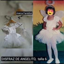 disfraz niña: angelito, bastonera, payasita, rockera, y muñeca fresitaa