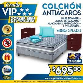 ((*COMBO 3 PLAZAS*)) BASE BOX Mas COLCHÓN 3 Plazas Mas VELADORES Mas SABANAS Mas ENTREGA **LLAME Palacio Del Colchon**
