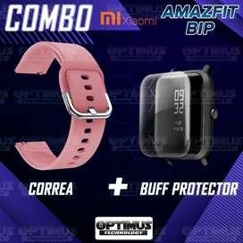 Kit Manilla Correa Banda Pulso y Buff Screen Protector de Reloj inteligente Smartwatch Xiaomi Amazfit Bip