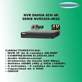 NVR 8CH DAHUA HASTA 8MP 4K NVR5208-4KS2 ALARMA AUDIO