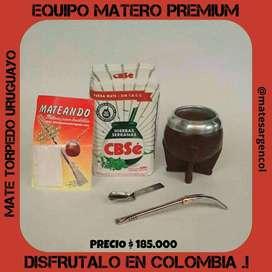 """EQUIPO MATE """" PREMIUM""""! MATE TORPEDO URUGUAYO c\ BOMBILLA"""" PICO DE LORO"""" c\ YERBA MATE CBS HIERBAS con FILTRO BOMBILLA!"""