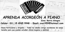 ACORDEON A PIANO CLASES SEMANALES.  APRENDA EN POCO TIEMPO
