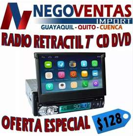 RADIO PARA CARRO RETRACTIL CD Y DVD DE UN DIN BLUETOOTH + CAMARA DE RETRO GRATIS