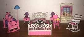Barbie set completo habitación con cuna bebe